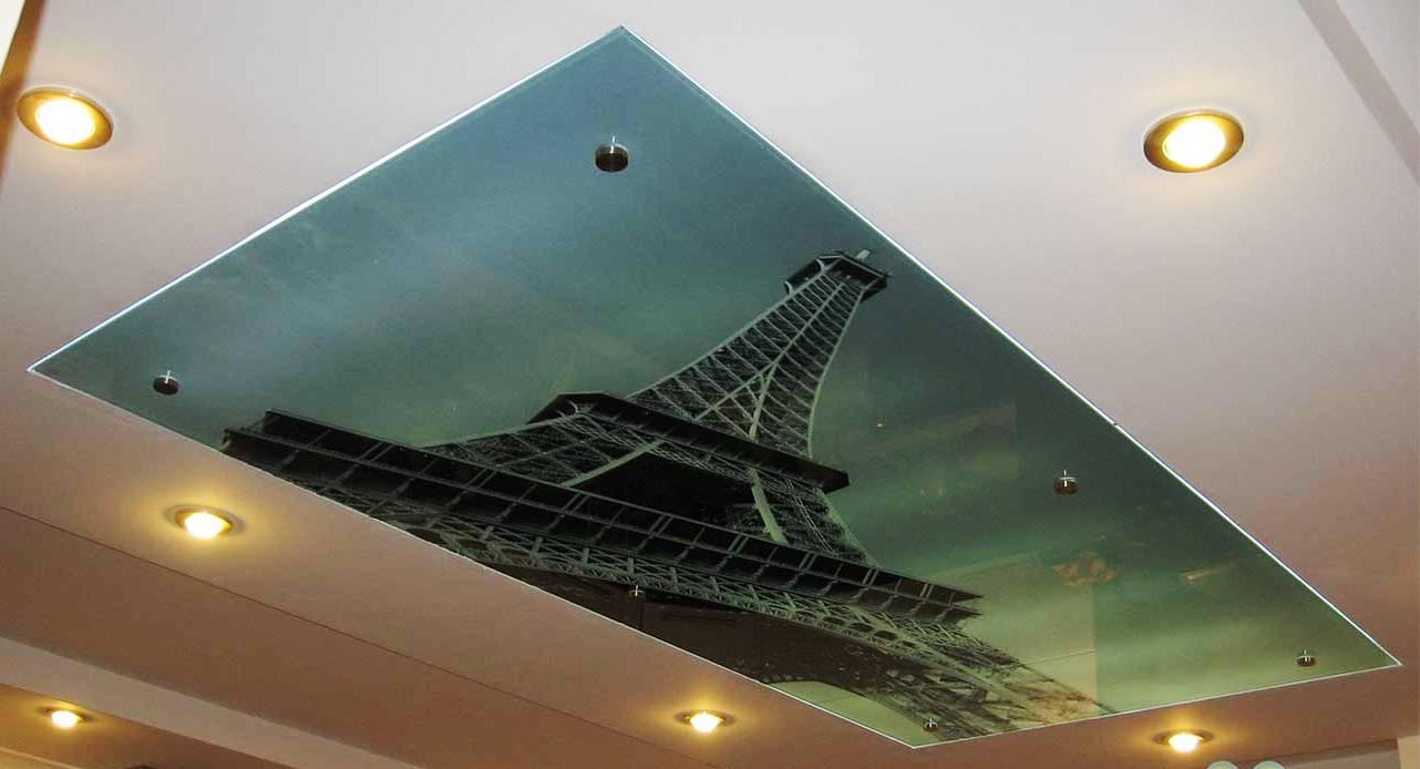 Купить недорого потолки из стекла